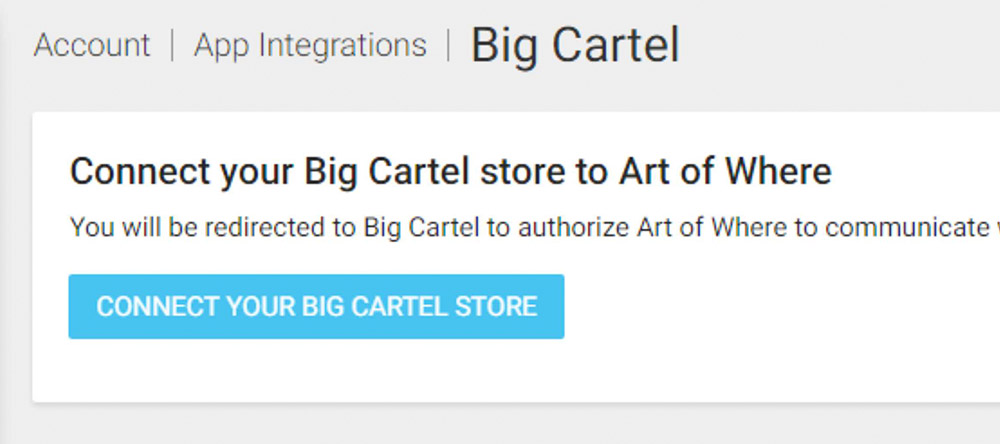 Art of Where and Big Cartel