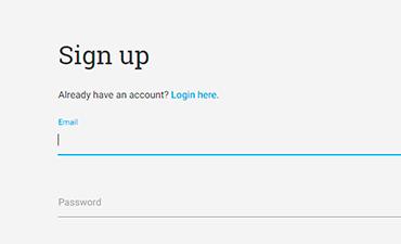 Screenshot of signup page