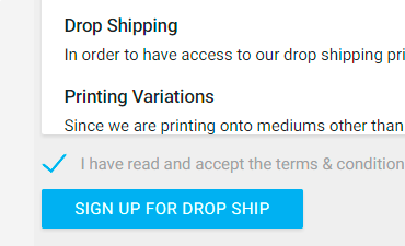 Screenshot of how to sign up for drop ship