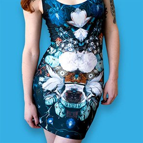 Picture of a girl wearing a custom printed bodycon dress