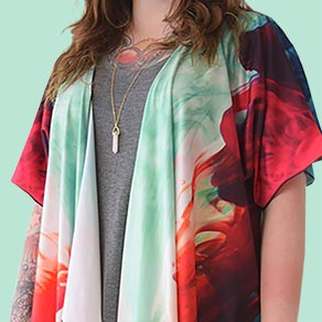 Picture of a girl wearing a custom printed draped kimono