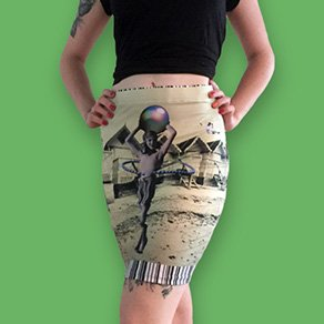 Picture of a girl wearing a custom printed fitted skirt