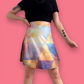 Picture of a girl wearing a custom printed flare skirt
