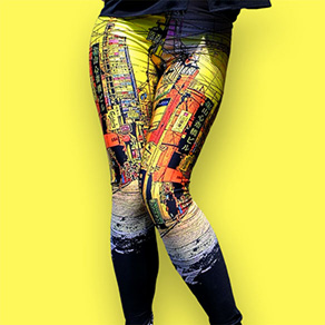 Picture of a girl wearing custom printed leggings