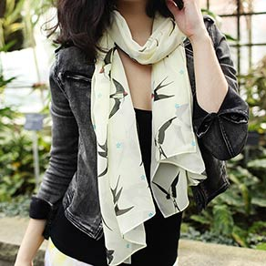 Picture of a girl with a custom printed long silk scarf