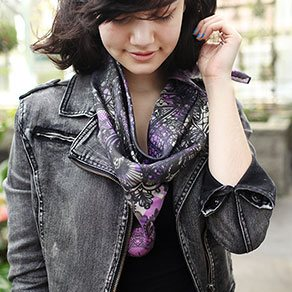 Picture of a girl with a custom printed square scarf