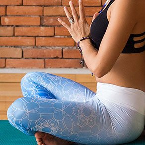 Picture of a girl wearing custom printed yoga capris