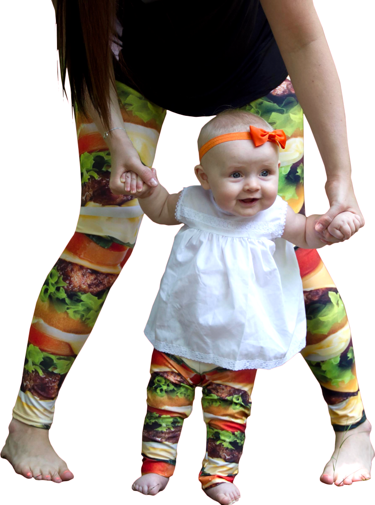 Picture of a baby wearing custom printed baby leggings