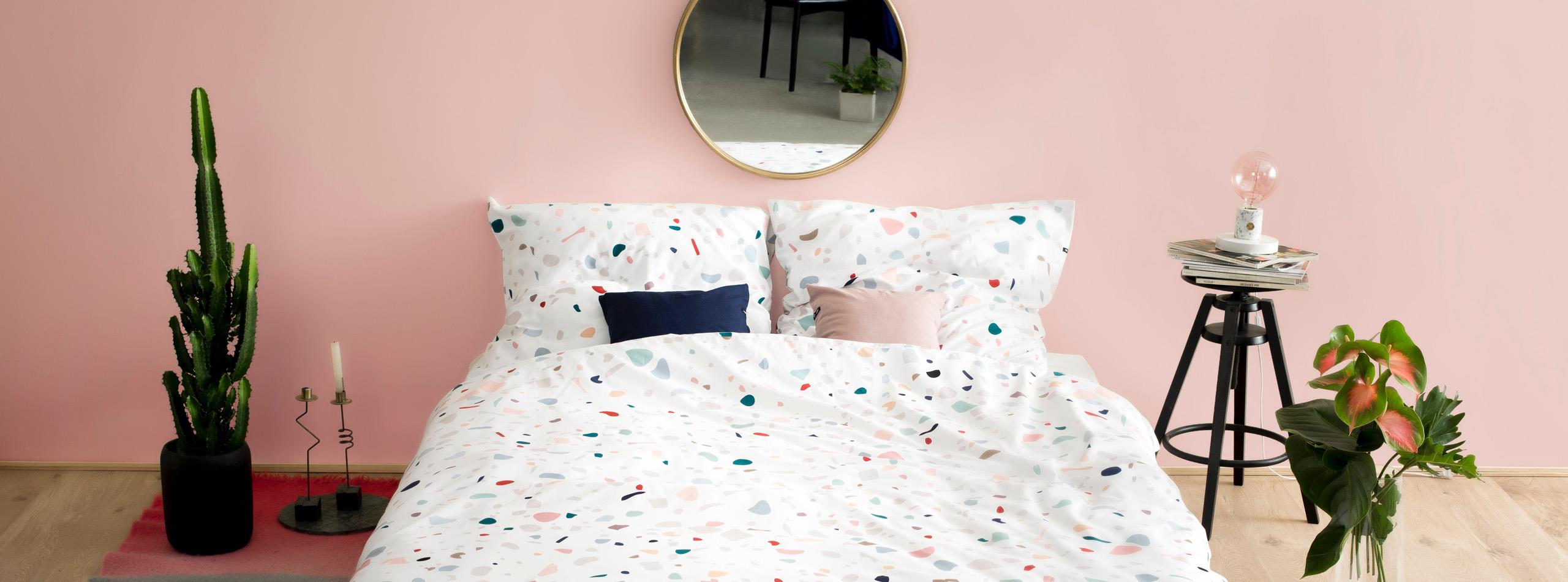 Photo d'un lit avec housse de couette en satin de coton imprimée sur mesure