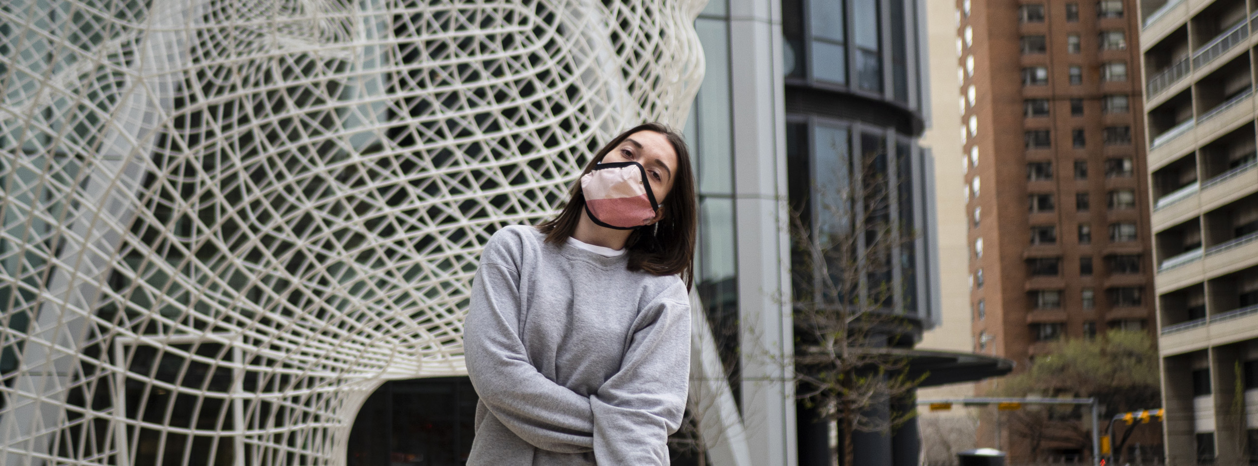Girl outside with face covering