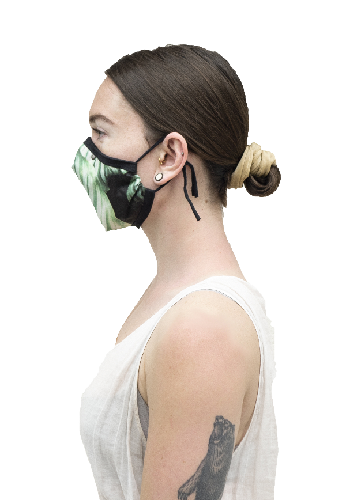 Side view of a woman wearing a face covering