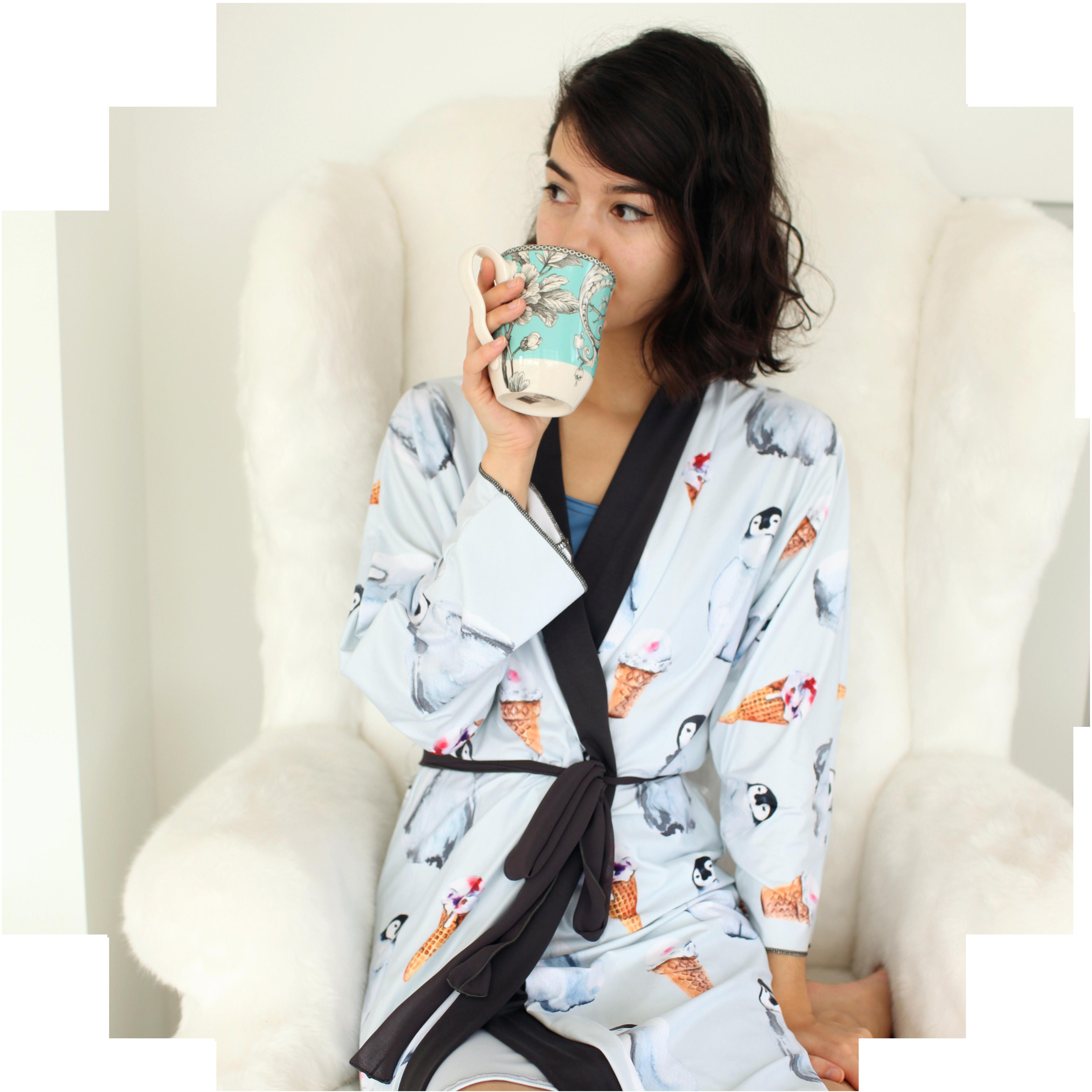 Peachskin kimono robe