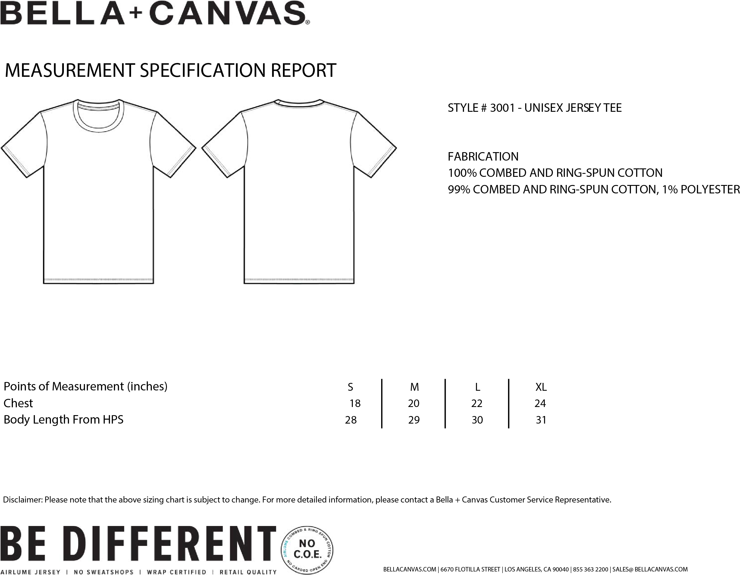 Bella Canvas t-shirt sizing guide