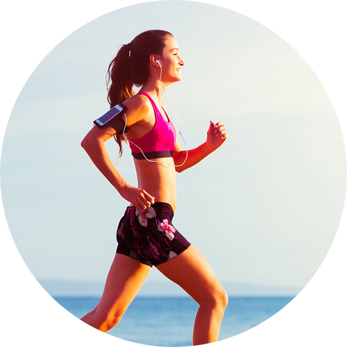 Picture of a girl running, wearing custom printed shorts