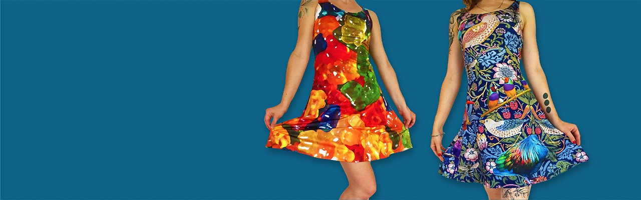 Picture of a girl wearing a custom printed flare dress