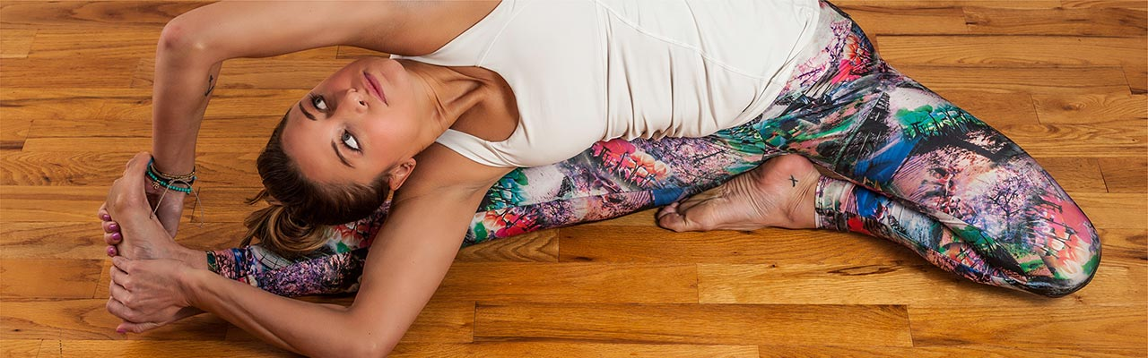 Picture of a girl wearing custom printed yoga leggings